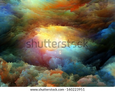 Creative arrangement of dreamy forms and colors to act as complimentary graphic for subject of dream, imagination, fantasy and abstract art - stock photo