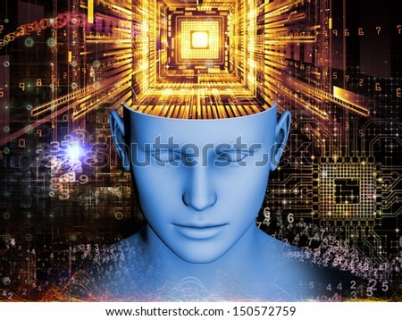 Creative arrangement of human head and symbolic elements as a concept metaphor on subject of human mind, consciousness, imagination, science and creativity