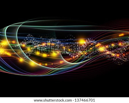 Creative arrangement of lights, fractal and custom design elements to act as complimentary graphic for subject of network, technology and motion