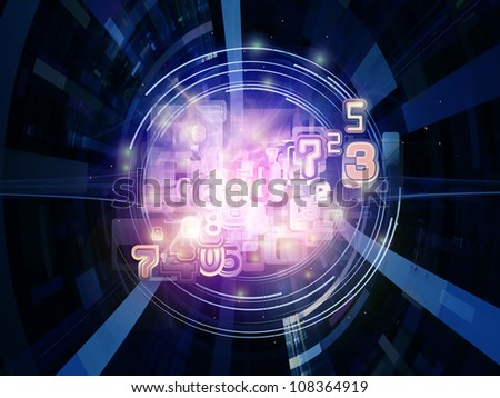 Creative arrangement of numbers and abstract design elements to act as complimentary graphic for subject of modern computing, virtual reality and digital processing