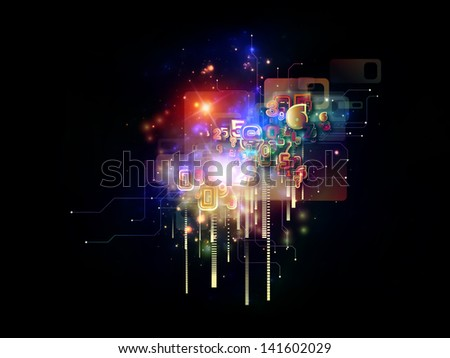 Creative arrangement of symbols, lights, fractal elements as a concept metaphor on subject of digital communications, science and virtual cloud technology