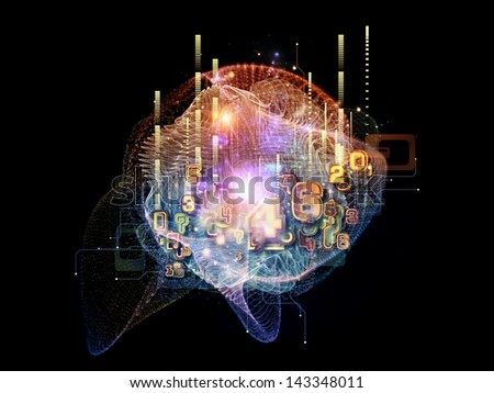 Creative arrangement of symbols, lights, fractal elements to act as complimentary graphic for subject of digital communications, science and virtual cloud technology