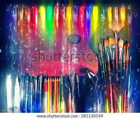 Creative art background.Artist tools. - stock photo