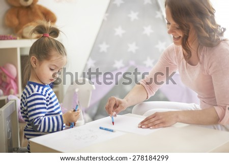 Creative art with mommy in my room  - stock photo