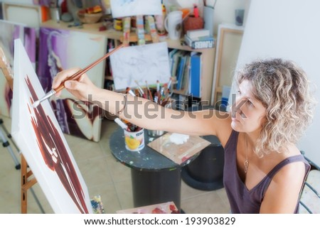 Creative artist for drawing. In the studio. - stock photo