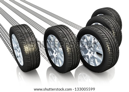 Creative automotive concept: set of car wheels with tyre prints isolated on white background with reflection effect - stock photo