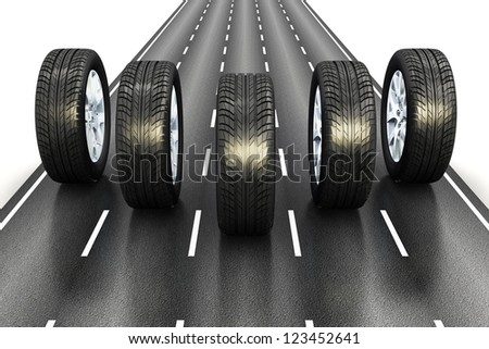 Creative automotive industrial concept: set of black car auto rubber wheels driving the asphalt highway road isolated on white background - stock photo