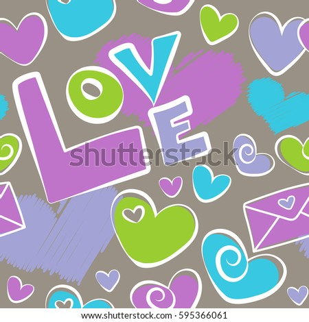 Creative Background Is Made Up Of Hearts And Love Letter In Green Violet Colors