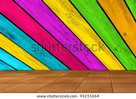 Creative Background - Multicolored Wooden Wall and Tiled Floor - stock photo