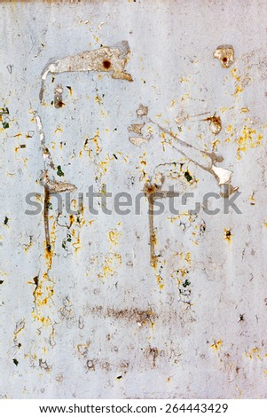 Creative background of rusty metal with cracks and scratches, carelessly painted paint. Grungy metal surface. Great background or texture for your project. - stock photo