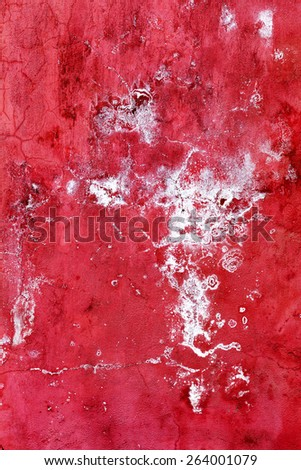 Creative beautiful bright red with white stains background, cracks and scratches on the concrete. Grungy concrete surface. Great background or texture for your project. - stock photo