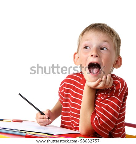 Creative boy with pencils - stock photo