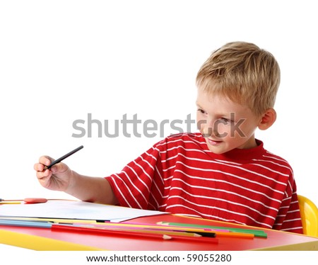 Creative boy with pencils - stock photo