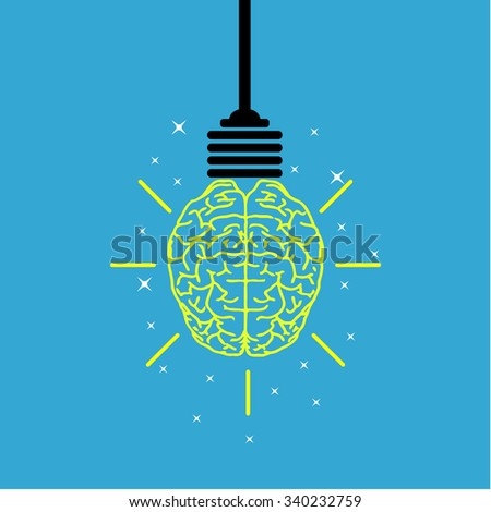 Creative brain Idea and light bulb concept, design for poster flyer cover brochure, business idea, education concept. illustration  Raster version.  - stock photo