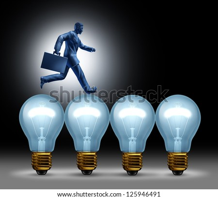 Creative bridge business concept with a man in a suit running on light bulbs using ideas to move forward with innovation and wealth on a black background. - stock photo