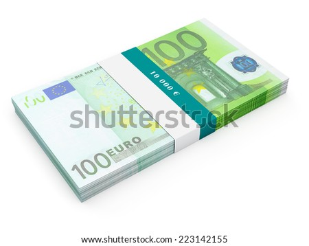 Creative business finance making money concept - bundle of hundred euro banknotes (bills) isolated on white background - stock photo