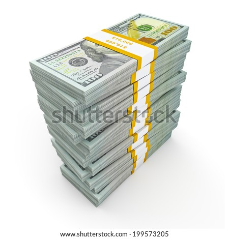 Creative business finance making money concept - stack of new new 100 US dollars 2013 edition banknotes (bills) bundles isolated on white background money stack on white - stock photo