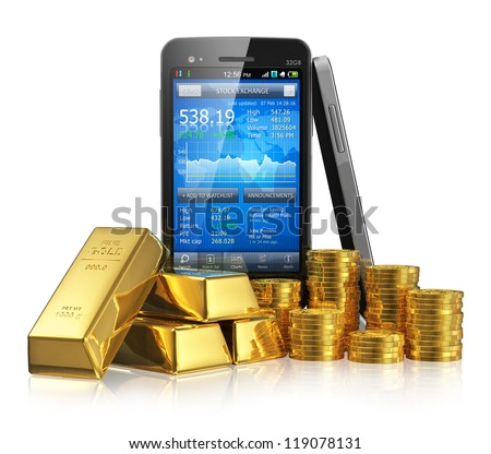 Creative business financial corporate stock exchange trading and making money and profit investment concept: smartphone with stock market application, golden ingots and gold coins isolated on white - stock photo