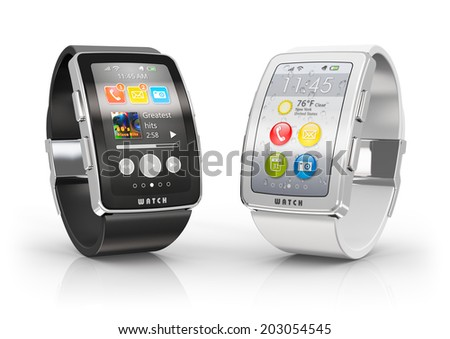 Creative business mobility and modern mobile wearable device technology concept: two color digital smart watches or clocks with colorful screen interface isolated on white background with reflection - stock photo
