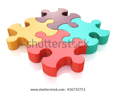Creative business, office, teamwork, partnership and communication corporate concept: logo from four color red, brown, green and yellow puzzle jigsaw pieces on white background. 3d illustration - stock photo