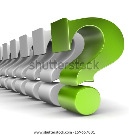 Creative business strategy, risk, motivation and success concept: green question symbol within a row of white signs isolated on white background with selective focus effect  - stock photo