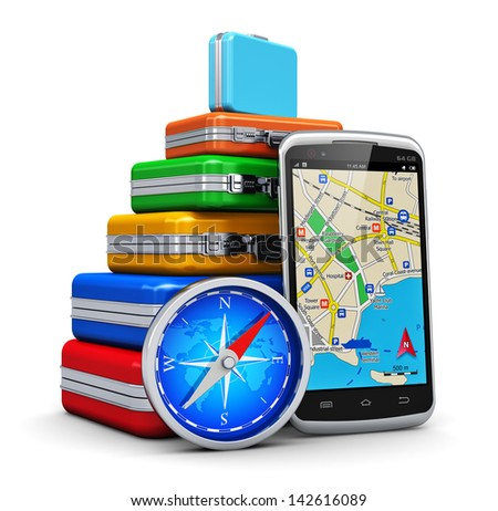 Creative business travel, tourism and GPS navigation concept: stack of color traveling cases or bags, touchscreen smartphone with GPS navigation map and magnetic compass isolated on white background - stock photo