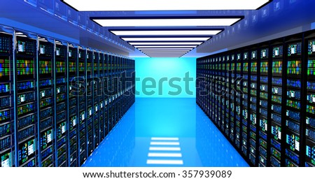 Creative business web telecommunication, internet technology connection, cloud computing and networking connectivity concept: terminal monitor in server room with server racks in datacenter interior.