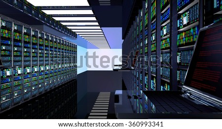 Creative business web telecommunication, internet technology connection, cloud computing and networking connectivity concept: terminal monitor in server room with server racks in datacenter interior. - stock photo