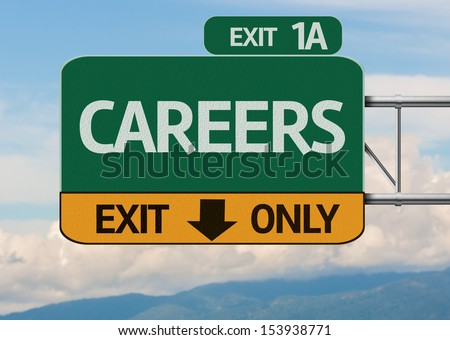 Creative Careers Exit Only, Road Sign - stock photo