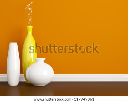 Creative ceramic vases on the floor. Decorated Interior. Red wall. - stock photo