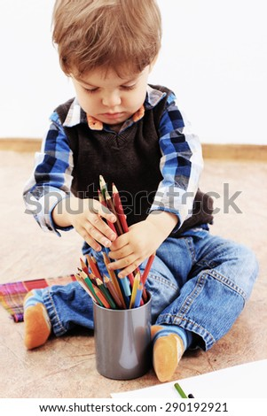 Creative child, Kids drawing or Pencils drawing, Art tools, Art school - stock photo
