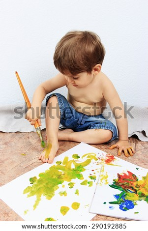 Creative child or Painting brush, Children drawing, Happy child, Kids drawing or Creative thinking, Children care, Art therapy, Painting background - stock photo