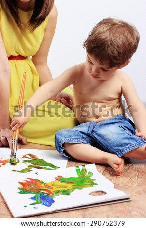 Creative child or Painting, Clever child, Development process - stock photo