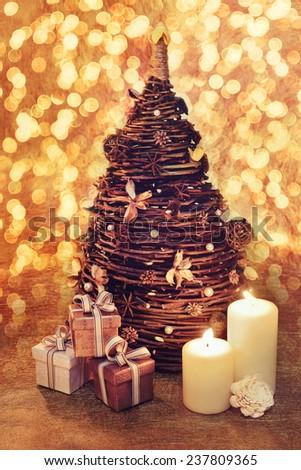 Creative Christmas tree made of twigs - stock photo