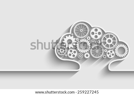 Creative cloud background with gears for your design - stock photo