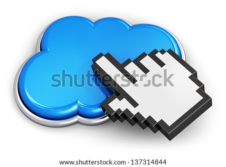 Creative cloud computing and internet web telecommunication service concept: blue glossy cloud icon with hand link selection computer mouse cursor isolated on white background