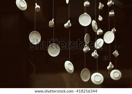 avant garde lighting. Creative Coffee Shop And Cafe With Avant-garde Style Decoration. Hanging Porcelain Cups Avant Garde Lighting
