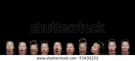 Creative collage of a woman making different expressions - stock photo