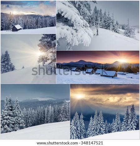 Creative collage of many nature photos. Carpathian, Ukraine, Europe. Beauty world. - stock photo