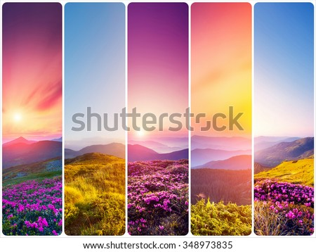 Creative collage of summer landscape with vertical photo. Location Carpathian, Ukraine, Europe. Beauty world. Instagram toning effect. - stock photo