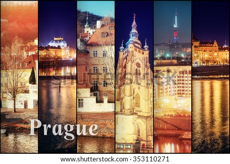 Creative collage view of the Prague architectural monuments with vertical photo. Instagram tonic effect. - stock photo