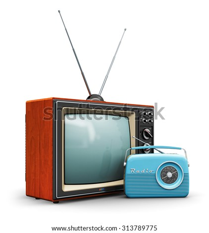 Creative communication media and vintage television business concept: old retro color wooden home TV receiver set with antenna and blue plastic analog radio receiver isolated on white background - stock photo