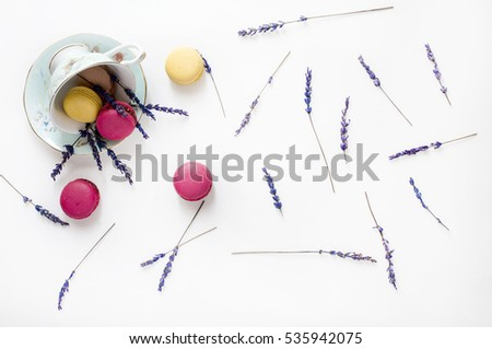 Creative composition with cup, macarons cookies and lavender flowers on white background