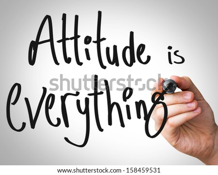 """Creative composition with the message """"Attitude is Everything"""" - stock photo"""