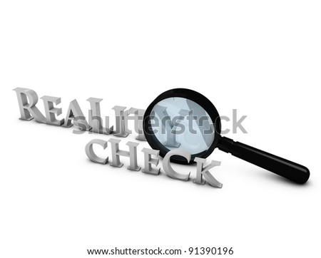 Creative concept 3d rendering Reality Check, isolated on white. - stock photo