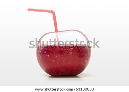 creative concept of healthy apple juice - stock photo