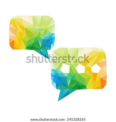 Creative concept of the bubble speech consists of colorful polygons - stock photo