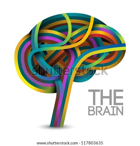 Creative concept of the human brain (vector also available) - stock photo