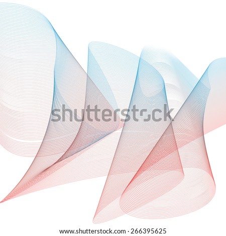 Creative 3d delicate background with abstract flowing lines. Aerial wavy elegant strip, light pink textile composition.
