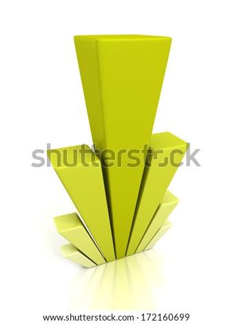 creative 3d green business bar chart graph - stock photo